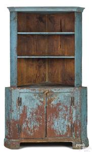 Painted hard pine one-piece corner cupboard