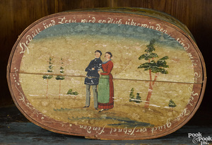 Continental painted bentwood brides box, 19th c.