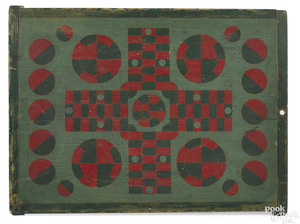 Painted pine Parcheesi gameboard, ca. 1900