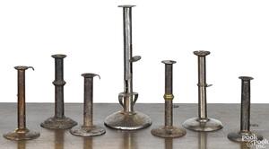 Seven hogscraper candlesticks 18th/19th c.
