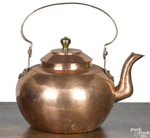 Large dovetailed copper tea kettle, 19th c.