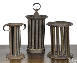 Three unusual round tin candle molds, 19th c.