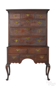 American Queen Anne tiger maple high chest