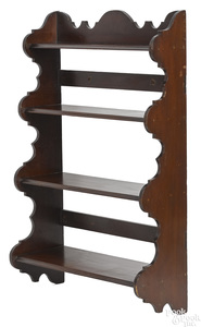 American stained pine hanging shelf, 19th c.
