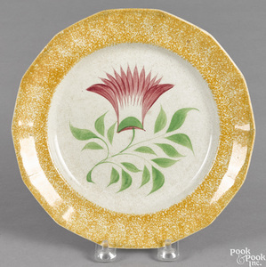 Yellow spatter plate with thistle