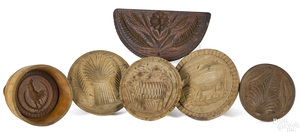 Six turned and carved butterprints, 19th c.