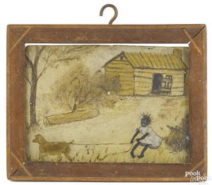 American miniature oil on board, 19th c.