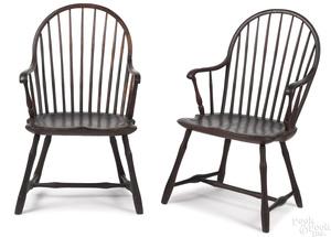 Pair of Philadelphia hoopback Windsor armchairs