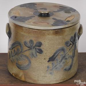 Large Pennsylvania stoneware lidded crock, 19th c