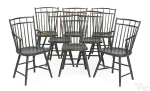 Set of eight Pennsylvania birdcage Windsor chairs