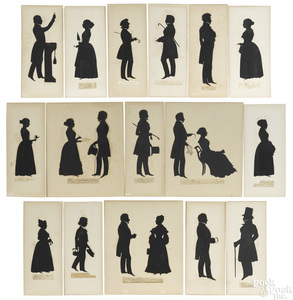 Collection of sixteen cutout and drawn silhouettes