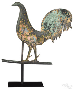 Swell bodied copper cockerel weathervane