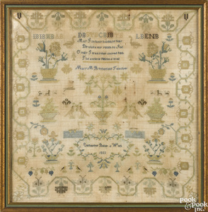 Silk on linen sampler, dated {1823}