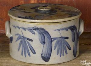 Pennsylvania stoneware lidded cake crock