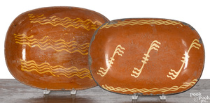 Two Pennsylvania redware loaf dishes, 19th c.