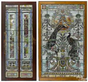 Stained glass window and sliding door, ca. 1900