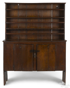 Walnut pewter cupboard, late 18th c.