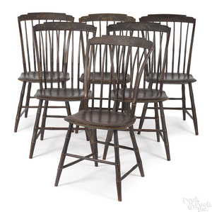 Set of six painted rodback chairs, 19th c.