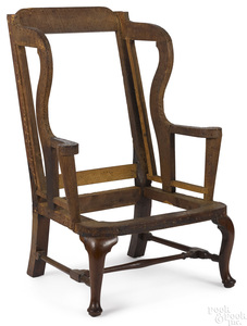 Queen Anne walnut wing chair, ca. 1760.