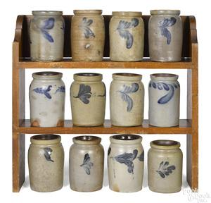 Collection of twelve Pennsylvania stoneware crocks