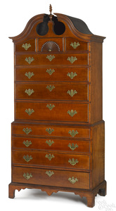 New England Chippendale maple chest on chest