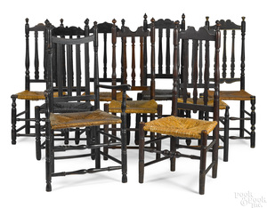 Set of nine New England banisterback dining chairs