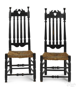 Two New England William and Mary side chairs
