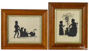 Two watercolor silhouette family groups, 19th c.