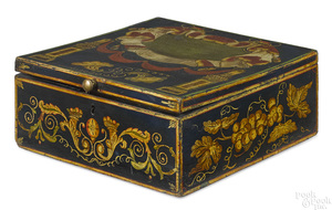 New England painted basswood box, 19th c.