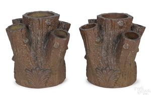 Pair of sewer tile faux bois planters
