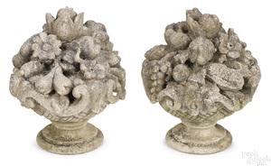 Pair of limestone garden fruit baskets