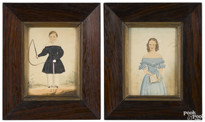 Pair of watercolor folk portraits