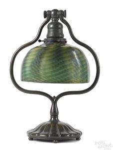 Tiffany Studios patinated bronze desk lamp