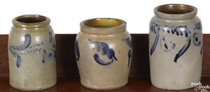 Three Pennsylvania stoneware crocks, 19th c.