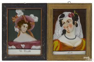 Four reverse painted portraits, 19th c.