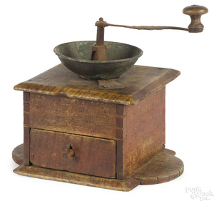 Pennsylvania curly maple coffee mill, ca. 1800