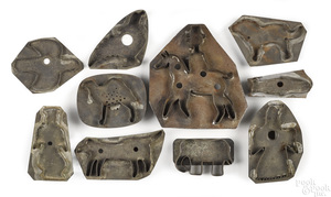 Ten tin cookie cutters, 19th c.