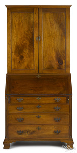 Pennsylvania Chippendale walnut desk and bookcase