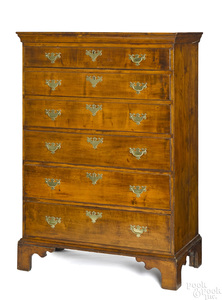New England Chippendale maple tall chest