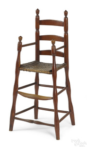 Red stained ladderback highchair, ca. 1800