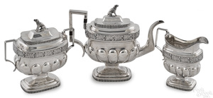 New York three-piece silver tea service