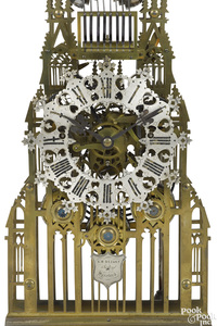English brass musical skeleton clock, mid 19th c.