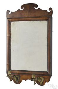 George II walnut veneer looking glass