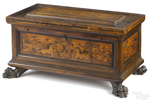 Italian walnut coffer, early 18th c.