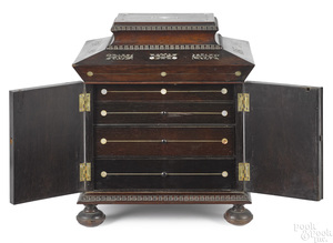 Regency rosewood and mother of pearl necessaire