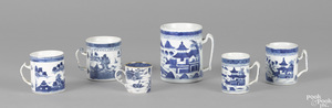 Six Chinese export porcelain Canton mugs