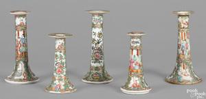 Chinese export rose medallion candlesticks