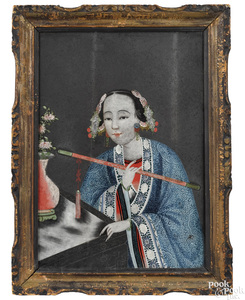 Chinese reverse painted portrait of a consort