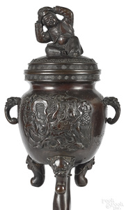 Japanese Meiji period bronze censer
