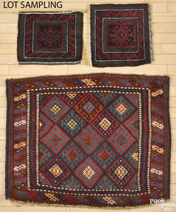 Six Oriental mats and bagfaces, early 20th c.